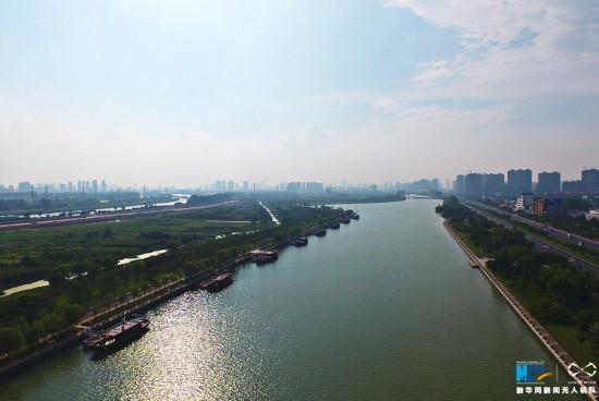 航拍京杭大运河淮安段 古代交通大动脉换新颜