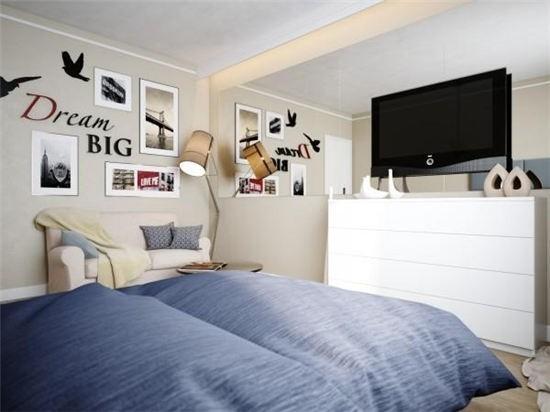 优雅范儿蜗居 23平米卧室客厅合一设计