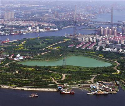 天津滨海新区中心商务区蓝鲸岛绿意盎然