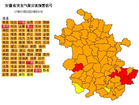安徽5个市县发布高温红色预警 24小时内最高气温超40℃