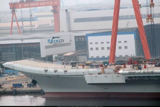 国产航母最新进展曝光 甲板开始划线