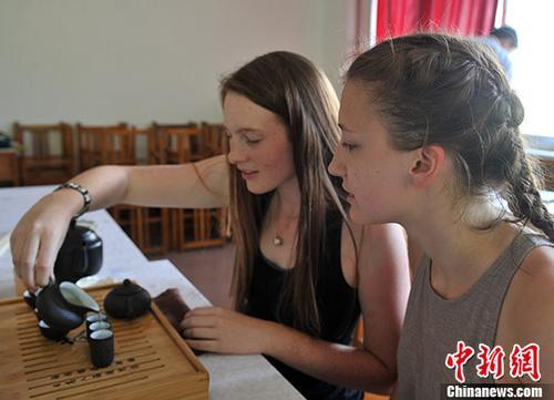 美国高中生学茶艺v茶艺中国茶文化职业高中同学图片