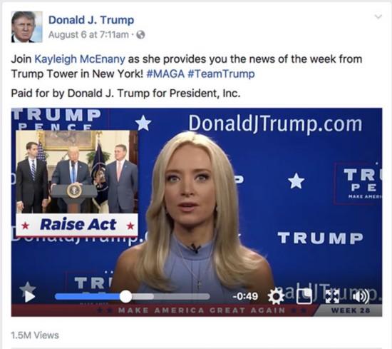 日前,美国总统特朗普在其脸谱(Facebook)页面上发布新闻视频栏目。