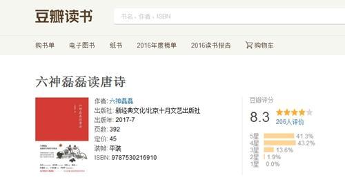 《六神磊磊读唐诗》在豆瓣上获得了较高评分。图片来源:豆瓣读书评分页面截图