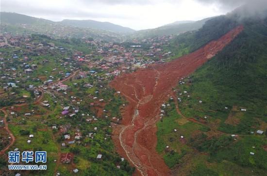 航拍塞拉利昂泥石流灾害现场