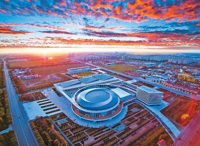 图为天津市武清体育中心体育馆,乒乓球比赛将在这里举行.