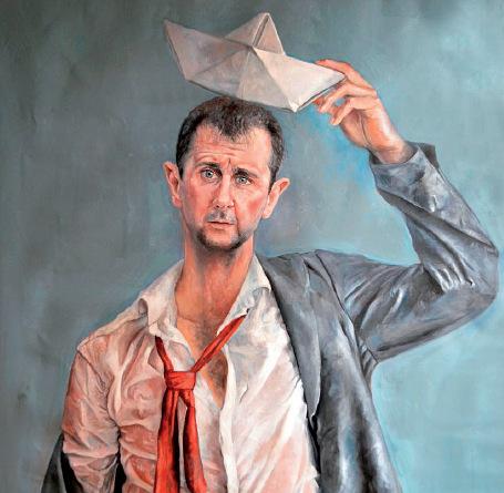 """50-6 ▲叙利亚艺术家奥马利说:""""我创作的目的,并不是侮辱或不尊重各个国家的领导人。而是希望,他们更富有同情心,对难民问题有更多的反思。""""图为奥马利此系列的部分作品。"""