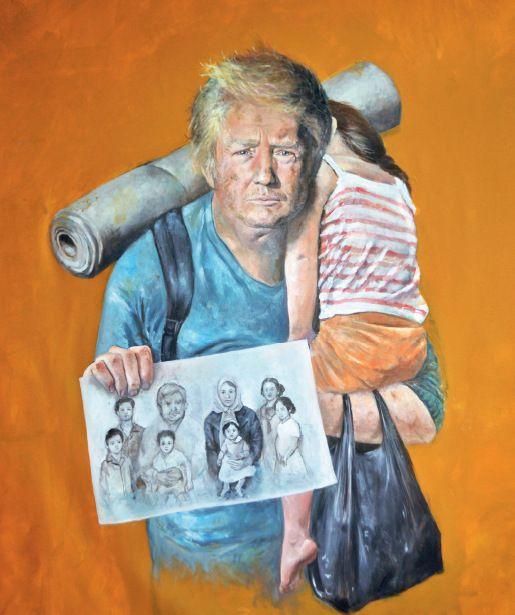 """50-4 ▲叙利亚艺术家奥马利说:""""我创作的目的,并不是侮辱或不尊重各个国家的领导人。而是希望,他们更富有同情心,对难民问题有更多的反思。""""图为奥马利此系列的部分作品。"""