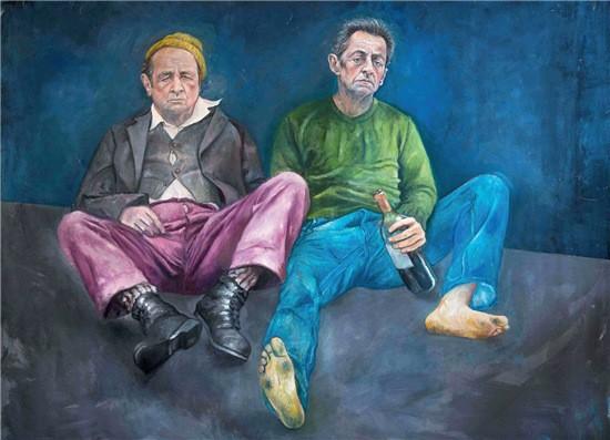 """50-1 ▲叙利亚艺术家奥马利说:""""我创作的目的,并不是侮辱或不尊重各个国家的领导人。而是希望,他们更富有同情心,对难民问题有更多的反思。""""图为奥马利此系列的部分作品。"""