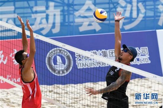 (全运会)(1)沙滩排球――男子沙滩排球小组赛:上海队胜海南队