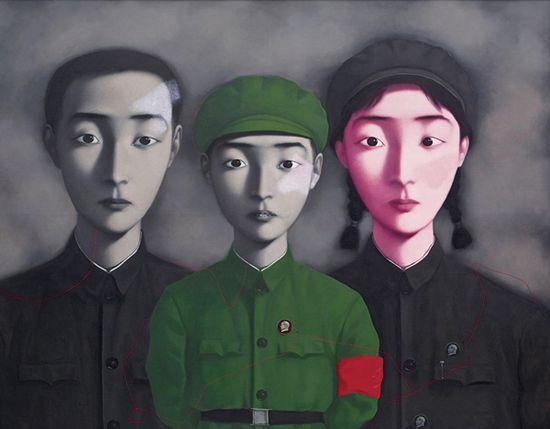 1995年作《血缘:大家庭3号》在2014年香港苏富比春拍中以9420万港元成交,为张晓刚最高拍卖纪录。