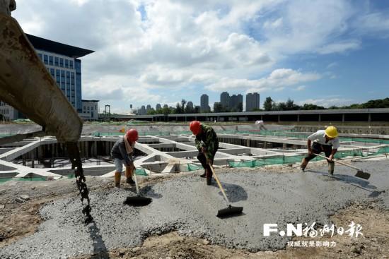 福州滨江市民广场突破关键节点 涉地铁区域底板施工完成