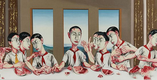 2013年香港苏富比40周年春拍中,尤伦斯旧藏的曾梵志《最后的晚餐》以1.8044亿港元成交,刷新了其个人和中国在世当代艺术家最高拍卖纪录。