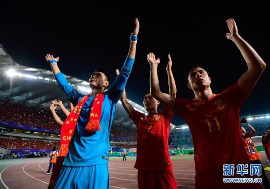 足球--世预赛:中国胜乌兹别克斯坦