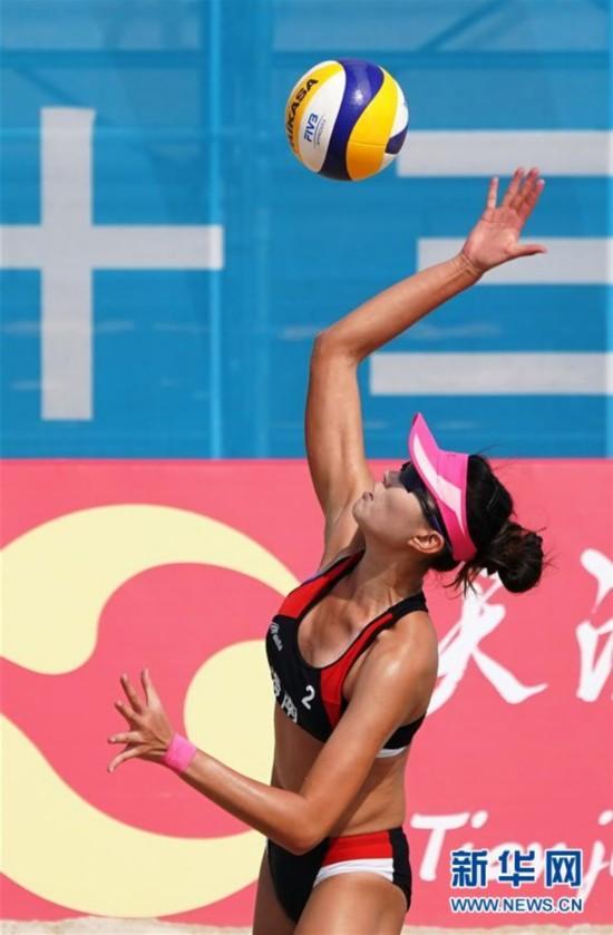 (全运会)(1)沙滩排球――女子沙滩排球:海南胜上海