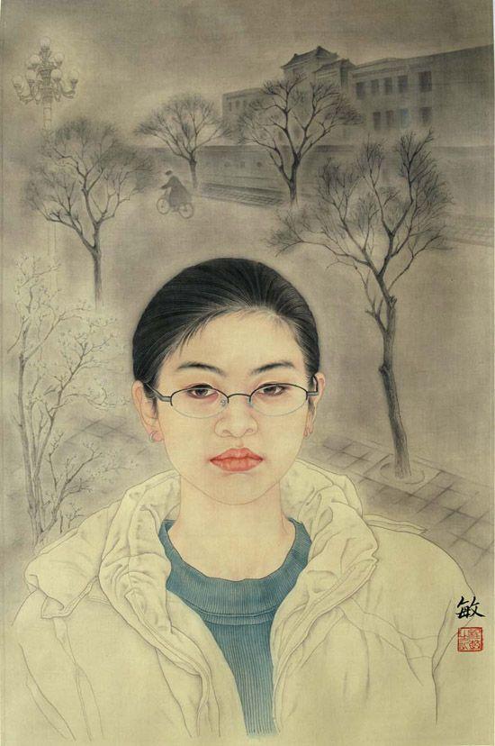 程敏中国工笔人物画作品欣赏