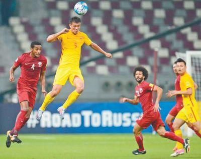 国足2∶1战胜卡塔尔队无缘2018年世界杯