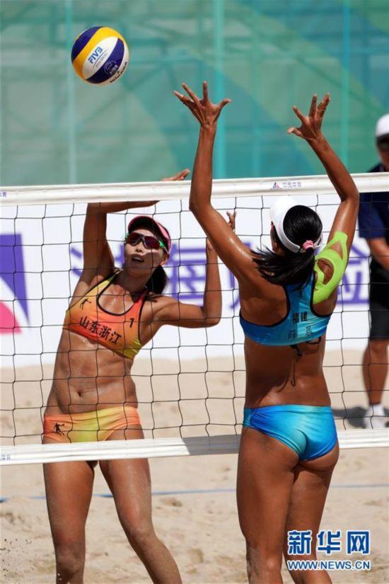 全运会沙滩排球女子决赛 王凡 岳园夺冠