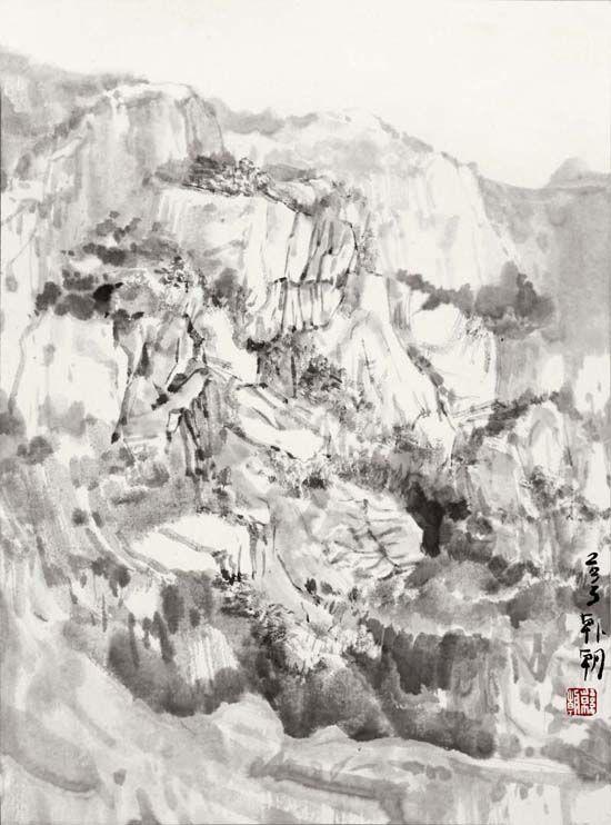 碓臼峪写生之10,53x45cm,纸本水墨2013年