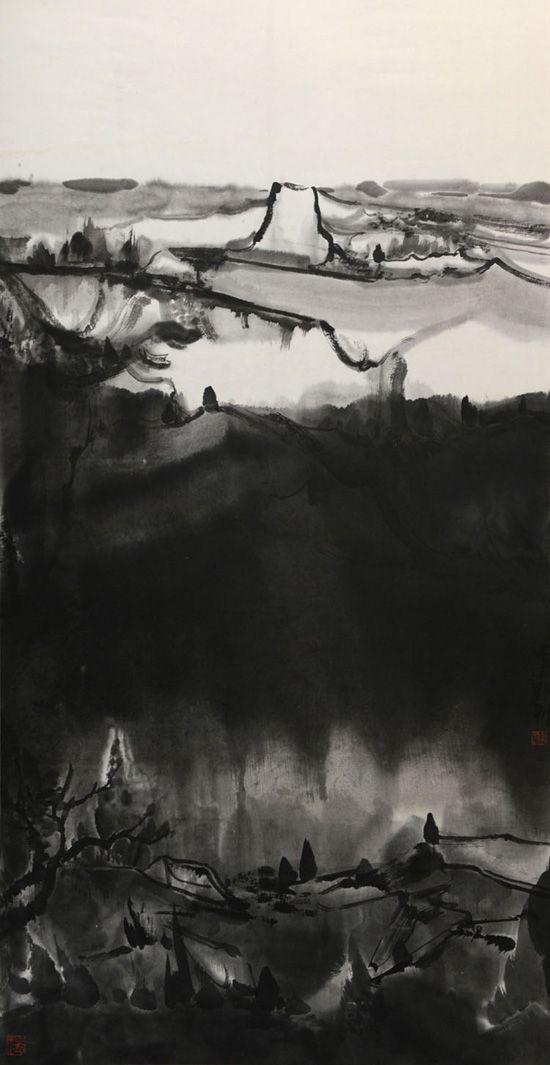 夜山系列之高坡,136x68cm,纸本水墨,2016年