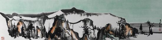 山水日记之碧秀,34x136cm,纸本水墨,2016年