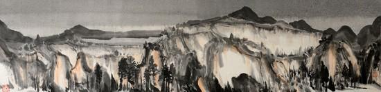 山水日记之暮色 34cm×137cm 纸本水墨,2014年