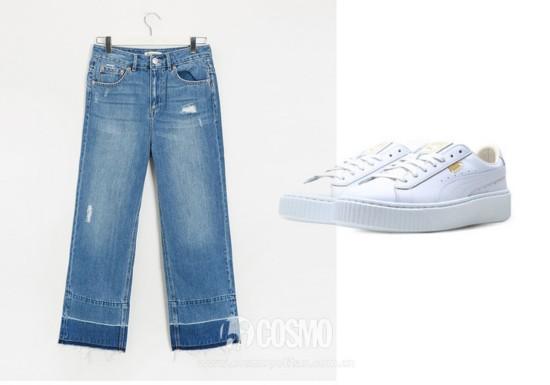 牛仔裤来自Pull & Bear 售价249元 可从品牌官网购买  运动鞋来自Skechers 售价649元 可从品牌官网购买