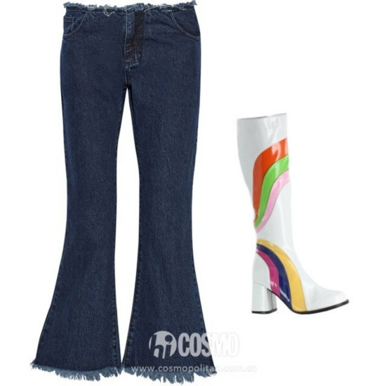Marques ' Almeida cropped frayed low-rise flared jeans, 9, net-a-porter.com; Jiggy retro knee-high go-go boots, , leatherlustfootwear.com