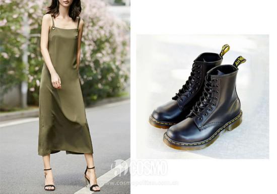 连衣裙来自Amii 售价229.9元 可从品牌官网购买  短靴来自Nine West 售价1574元 可从品牌官网购买
