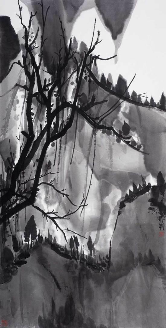 夜山系列之月白,136x68cm,纸本水墨,2016年