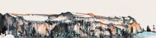 山水日记之落晖,34x136cm,纸本水墨,2013年