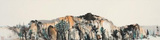 山水日记之秋高,34x136cm,纸本水墨,2012年