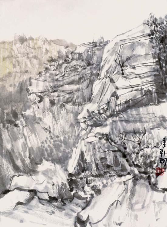 碓臼峪写生之11,53x45cm,纸本水墨2013年