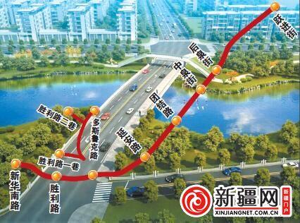 乌鲁木齐市珠江路东延景观桥开建 横跨延安公园人工湖
