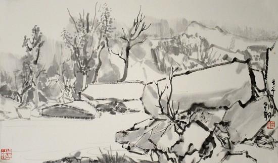 赤崖堡写生之3,39x65cm,纸本水墨,2014