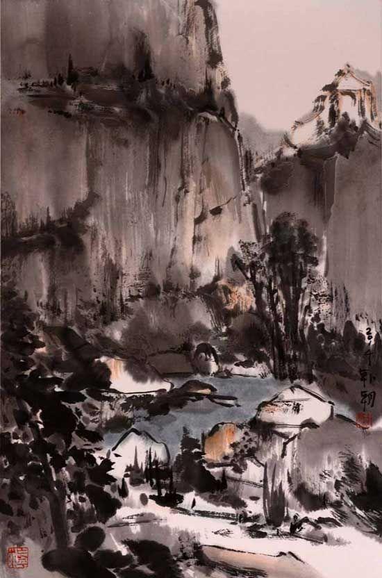 山水日记之雨来,68x45cm,纸本水墨,2014年
