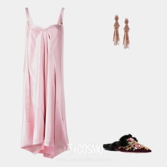 Sies Marjan shift dress, ,590, farfetch.com; Oscar de la Renta beaded drop earrings, 2, farfetch.com; Alberta Ferretti beaded mules, ,290, farfetch.com