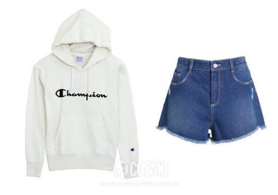 上衣来自Champion 售价590元 可从品牌官网购买 热裤来自爱Ochirly 售价199元 可从品牌官网购买