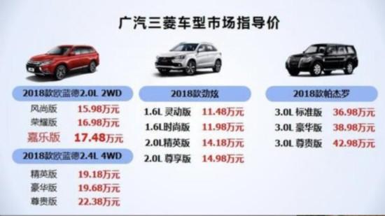 配置更加丰富 广汽三菱三款SUV产品升级上市