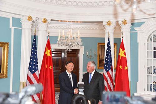 杨洁篪会见美国国务卿蒂勒森。摄影 章念生