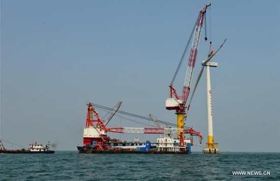 1st offshore wind power project of Hebei in N China under construction