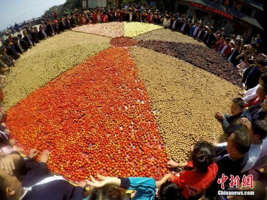 3600斤巨型山貨秋果拼盤亮相