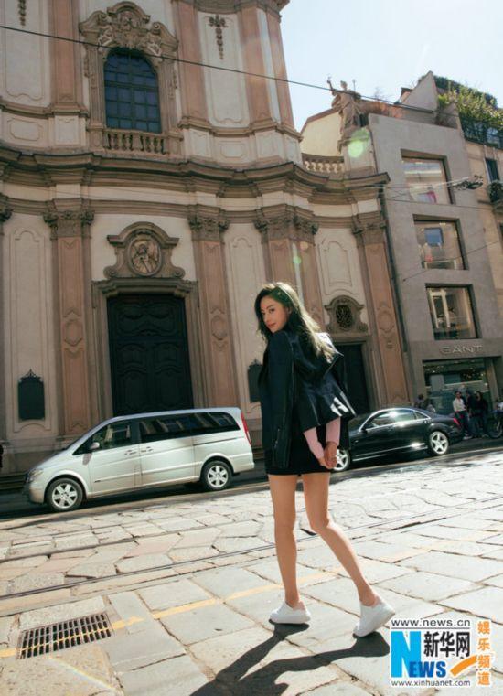 张天爱品牌大使身份率性亮相米兰时装周