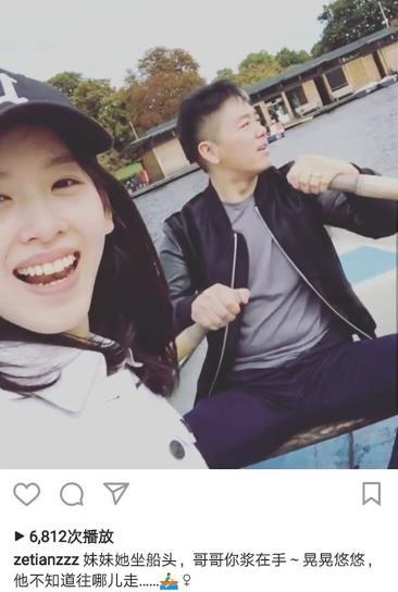 刘强东卖力为妻摇桨划船 奶茶妹妹哼歌助阵心情靓