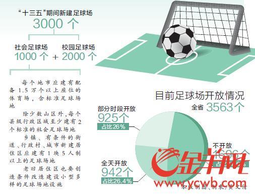 到2020年广东将新建3000个足球场 社会场地占1/3