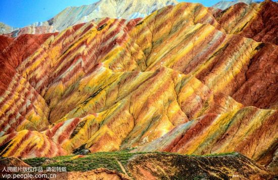 2017年9月26日,拍摄的甘肃张掖丹霞地貌群,色彩斑斓。