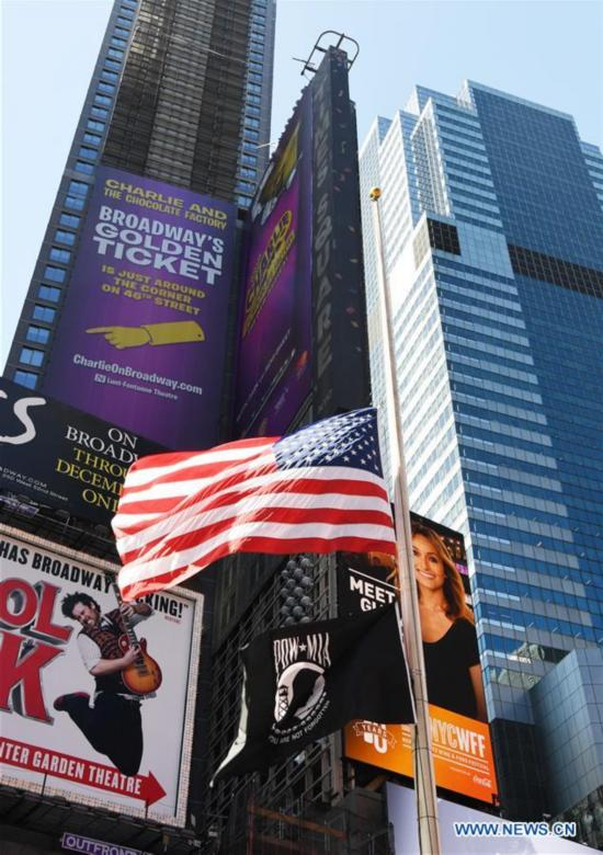 Flag at half mast to mourn victims of Las Vegas shooting at Times Square