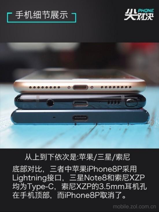 手機細節對比   三款手機的底部也大不相同,首先接口方面,蘋果iPhone8P採用了傳統的Lightning接口,延續了在iPhone7時代就取消的3.5mm耳機插孔。三星Note8採用了Type-C接口,3.5mm耳機插孔在左邊,右邊分別是麥克風、揚聲器和Note系列經典的S Pen。索尼XZP底部就比較簡單了,隻有一個麥克風開孔和Type-C接口,其3.