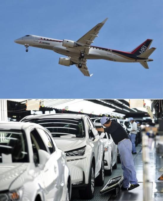 接片:三菱支线客机(MRJ,上图)和丰田汽车。(新华/法新)