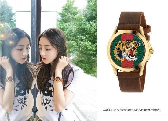 热巴佩戴GUCCI Le Marché des Merveilles系列腕表,复古又时尚~